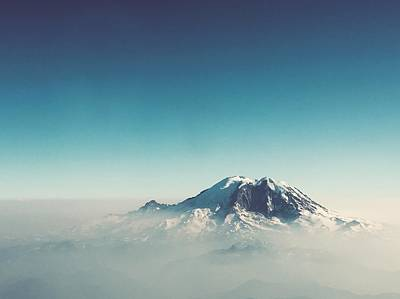 An Aerial View Of Mount Rainier Poster