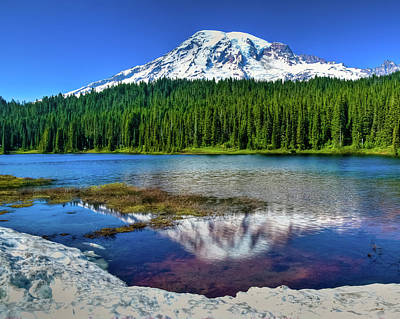 Mount Rainier Reflection Poster by Harry Strharsky