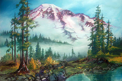 Poster featuring the painting Mount Rainier by Sherry Shipley
