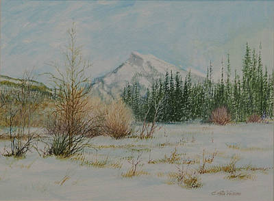 Mount Rundle In Winter Poster