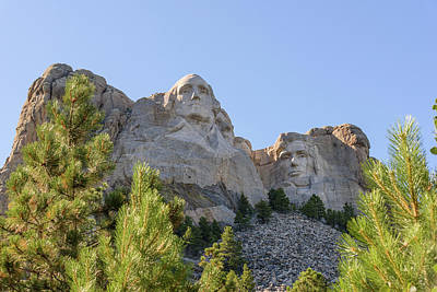 Mount Rushmore Framed With Trees 1 Poster by AMB Fine Art Photography