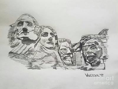 Mount Rushmore Graphite Pencil Sketch Poster