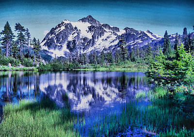Mount Shuksan And Picture Lake Poster by Jeff Swan