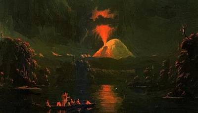Mount St Helens Erupting At Night Poster