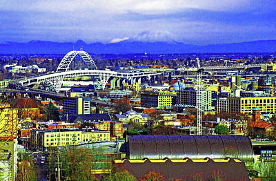 Mount St Helens Overlooking Portland Oregon Poster by Margaret Hood