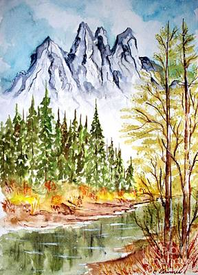 Poster featuring the painting Mountain Alps by Carol Grimes