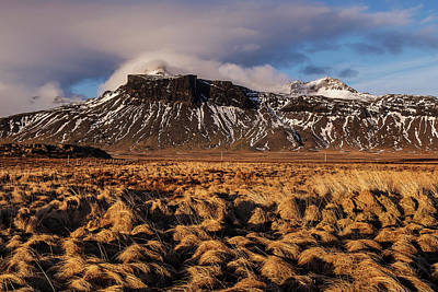 Poster featuring the photograph Mountain And Land, Iceland by Pradeep Raja Prints