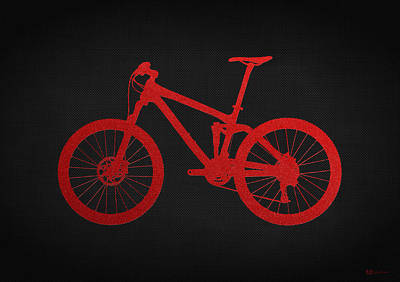 Mountain Bike - Red On Black Poster