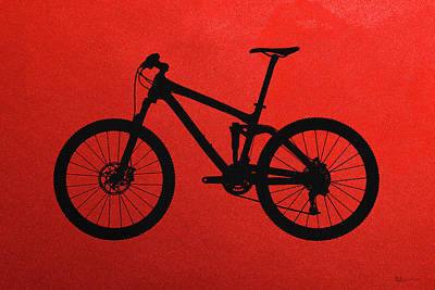 Mountain Bike Silhouette - Black On Red Canvas Poster