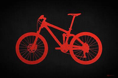 Mountain Bike Silhouette - Red On Black Canvas Poster