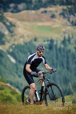 Mountain Biker On Trails Poster by Catalin Petolea