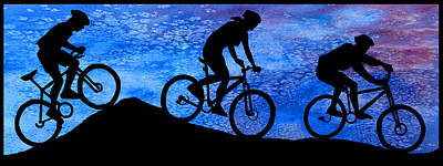Mountain Bikers At Dusk Poster