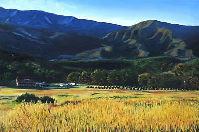 Mountain Farm Near Lake Casitas Poster by Sue Birkenshaw