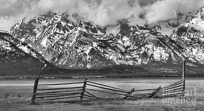Mountain Fence Black And White Poster by Adam Jewell