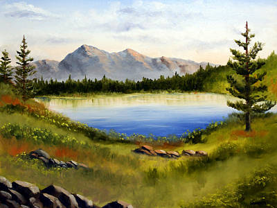 Mountain Lake Landscape Oil Painting Poster