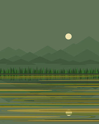 Poster featuring the digital art Mountain Lake Moon by Val Arie