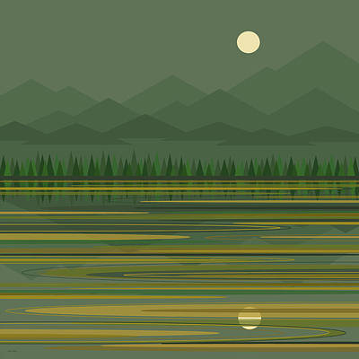 Poster featuring the digital art Mountain Lake Moonrise by Val Arie