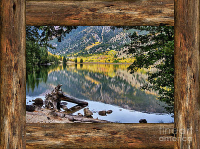 Mountain Lake Rustic Cabin Window View Poster by James BO Insogna