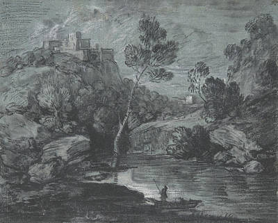 Mountain Landscape With A Castle And A Boatman Poster by Thomas Gainsborough