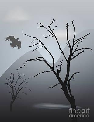 Mountain Landscape With Bird Poster by David Gordon