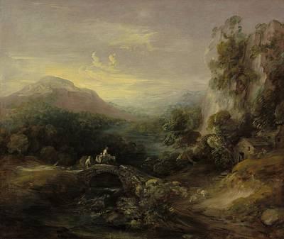 Mountain Landscape With Bridge Poster