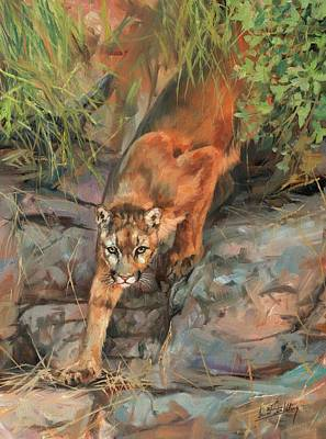 Poster featuring the painting Mountain Lion 2 by David Stribbling