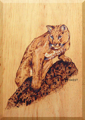 Poster featuring the pyrography Mountain Lion by Ron Haist