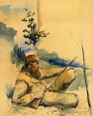 Poster featuring the drawing Mountain Man by Charles Schreyvogel
