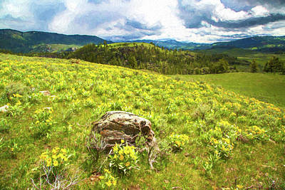 Mountain Meadow Impressionist Digital Art Poster
