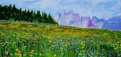 Mountain Meadow Wildflowers Poster by Mike Caitham