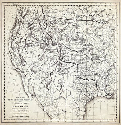 Mountain Men Fur Trapping Frontier Map  1807 - 1848 Poster by Daniel Hagerman