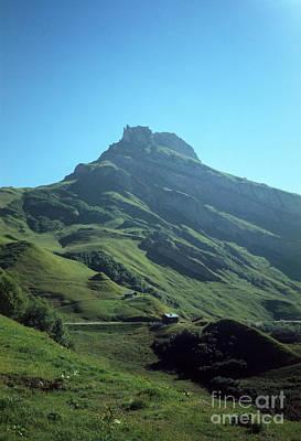 Mountain Peak With Farms Poster