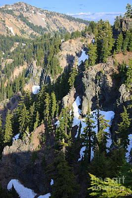 Mountain Ridges Around Crater Lake Poster by Carol Groenen