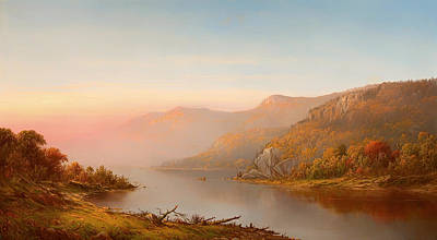 mountain river scene autumn of the Hudson Poster