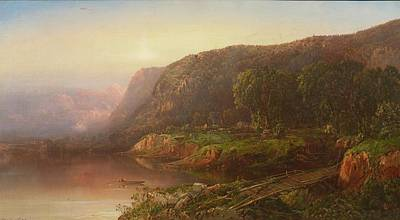 Mountain Scene On The Ohio River Poster