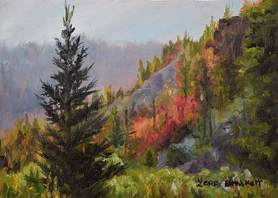 Mountain Slope Fall Poster by Lori Brackett