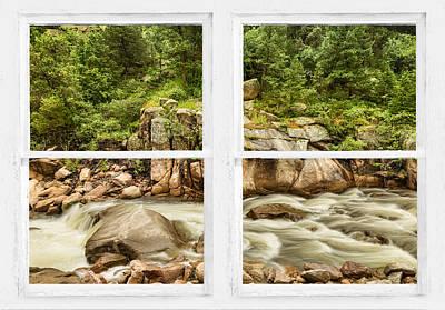 Mountain Stream Whitewash Window View Poster