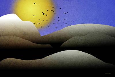 Mountain Sunset Landscape Art Poster