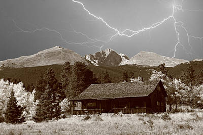 Mountains Cabin - Lightning - Longs Peak Poster by James BO  Insogna
