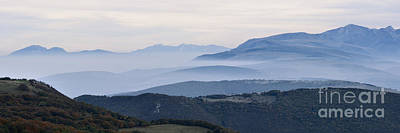 Mountains In The Fog Of Mount San Vicino, Italy Poster