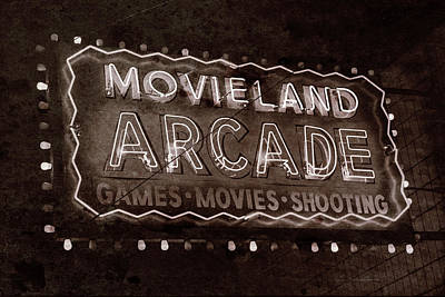 Poster featuring the photograph Movieland Arcade - Gritty by Stephen Stookey