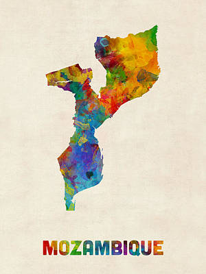 Mozambique Watercolor Map Poster by Michael Tompsett