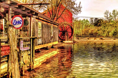 Mrs Duffs Gift Shoppe And Grist Mill In Smithville Nj Poster by Geraldine Scull