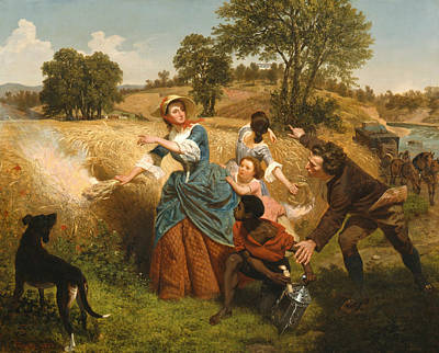 Mrs Schuyler Burning Her Wheat Fields On The Approach Of The British Poster by Emanuel Leutze