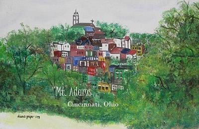 Mt Adams Cincinnati Ohio With Title Poster by Diane Pape