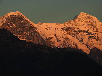 Mt. Eiger And Mt. Moench At Sunset Poster
