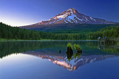 Mt. Hood Reflection At Sunset Poster by William Lee