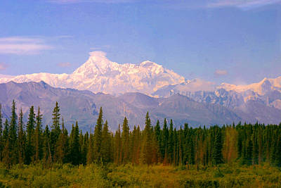 Poster featuring the photograph Mt Mckinley 125 Miles Away by Jack G  Brauer
