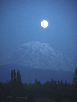 Mt Rainier Full Moon Poster