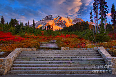 Mt. Rainier Morning Sunkiss Poster by Adam Jewell